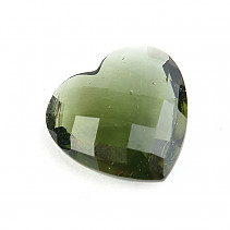 Moldavite heart 13 x 13mm checker top cut 0.91g