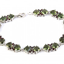 Luxury bracelet of moldavite and garnets 20cm standard Ag 925/1000 + Rh 18,21g