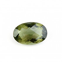 Moldavite cut oval 12 x 8mm checker top