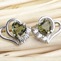 Moldavite and zircons earrings heart 5 x 5 mm standard Ag 925/1000 + Rh