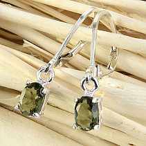 Moldavite earrings oval 6 x 4 mm standard Ag 925/1000