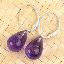 Amethyst earrings smooth drop Ag 925/1000