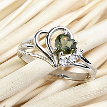 Moldavite and zircons ring heart 5 x 5 mm standard Ag 925/1000 + Rh