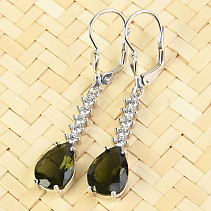 Moldavite and zircons earrings drop 11x8mm standard Ag 925/1000 + Rh