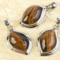 Tiger eye pendant wool with Ag 925/1000 bead