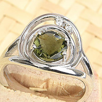 Moldavite and Zirconia Ring 7mm Checker Top Ag 925/1000 + Rh