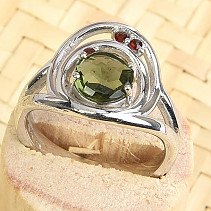Moldavite and garnet ring round 7mm checker top cut Ag 925/1000 + Rh