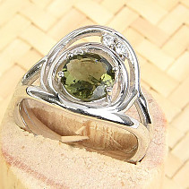 Moldavite and zirconia ring 7mm standard cut Ag 925/1000 + Rh