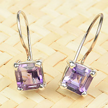 Amethyst earrings square cut 7mm Ag 925/1000
