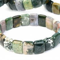 Mossy agate facet bracelet 15mm wide