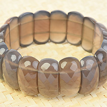Wide agate bracelet gray facet 25mm