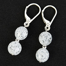 Crystal Earrings Beads 8mm Pearly Effect Ag Closure
