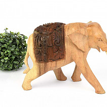 Wooden elephant with saddle small