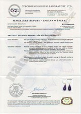 amethyst earrings with a certificate of authenticity Naturshop.cz