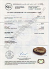 labradorite from Madagascar certificate of authenticity Naturshop.cz