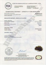 moldavite Besednice certificate of authenticity Naturshop.cz